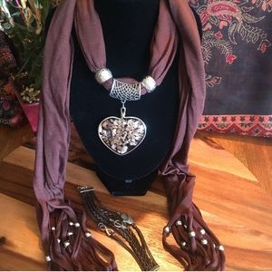 Jeweled Scarf set, Brown and Silver